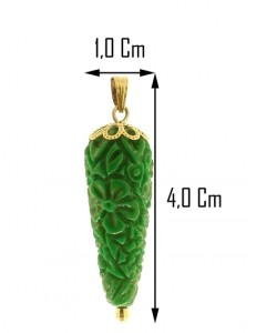 PENDENTE CORNETTO VERDE - Corno Donna Oro Giallo 18 Kt Carati Ct 750
