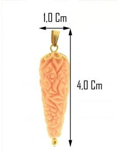 PENDENTE CORNETTO ROSA - Corno Donna Oro Giallo 18 Kt Carati Ct 750