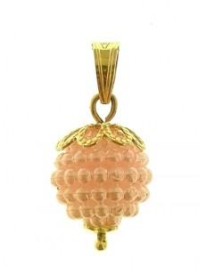 Ciondolo Pendente Rosa Donna Ragazza Oro Giallo 18 Kt Carati Ct 750 0,85 Gr