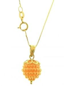 Collana Catena Nespolina Arancione Donna Oro Giallo 18 kt Carati Ct 750 1,4 Gr