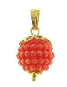 Ciondolo Pendente Nespolina Rossa Donna Oro Giallo 18 Kt Carati Ct 750 0,85 Gr