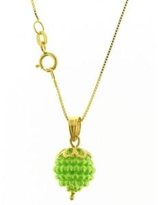 Collana Catena Nespolina Verde Lime Donna Oro Giallo 18 kt Carati Ct 750 1,5 Gr
