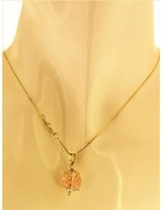 Collana Catena Cristallo Rosa Donna Oro Giallo 18 kt Carati Ct 750 2,4 Gr