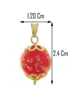 PENDENTE VETRO DI MURANO FOGLIA ORO - Oro Donna Oro Giallo 18 Kt Carati Ct 750