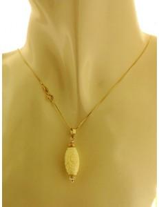 Collana Catena Pasta di Corallo Donna Oro Giallo 18 kt Carati Ct 750 2,25 Gr