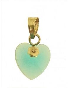 PENDENTE CUORE AZZURRO - 8 colori oro Giallo Donna 18 Kt Carati Ct 750 0,7Gr