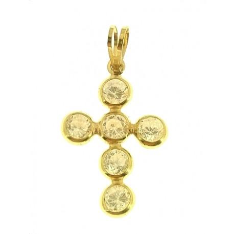 PENDENTE CROCE -  Donna Oro Giallo 18 Kt Carati Ct 750