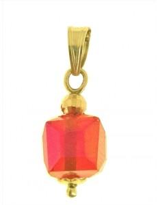 PENDENTE CUBO AZZURRO  - 8 colori oro Giallo Donna 18 Kt Carati Ct 750 1,0Gr