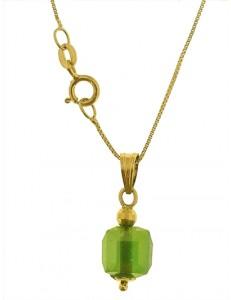 COLLANA CUBO AZZURRO - 8 Colori Oro Giallo Donna 18 Kt Carati Ct 750