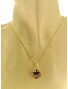 Collana Catenina Cristallo nero  Donna Oro Giallo 18 kt Carati Ct 750 3,15 Gr