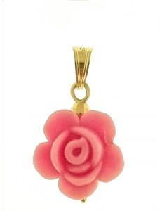 PENDENTE FIORE ROSA CHIARO - 7 colori oro Giallo Donna 18 Kt Carati Ct 750