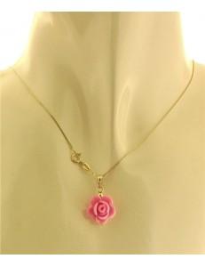 Collana Catenina Pendente Fiore 7 colori Donna Oro Giallo 18 Kt Carati Ct 750 1,50Gr