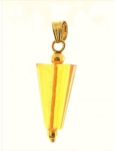 PENDENTE CONO AZZURRO - Tre colori oro Giallo Donna 18 Kt Carati Ct 750