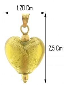 PENDENTE CUORE CRISTALLO - Oro Giallo 18 Kt Carati Ct 750