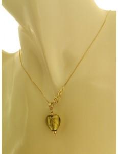 collana catenina Solitario Cuore oro Giallo Donna 18 Kt Carati 750 2,55 Gr