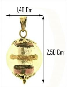 PENDENTE SFERA 1,40 CM - Donna Ragazza Oro Giallo 18 Kt Carati Ct 750 4,0 Gr