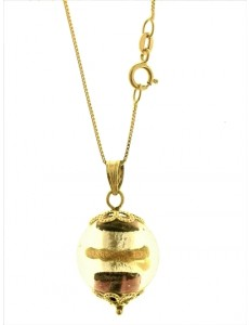 Collana Catenina Cristallo Murano Oro Donna Oro Giallo 18 Kt Carati Ct 750 4,7 Gr