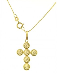 Collana Catenina Pendente Croce Donna Oro Giallo 18 Kt Carati Ct 750 1,80 Gr