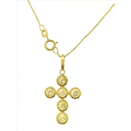 COLLANA CROCE ORO GIALLO - Collana Catenina Pendente Croce Donna Oro Giallo 18 Kt Carati Ct 750 1,90 Gr