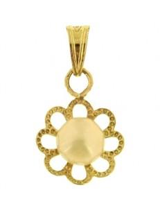 Ciondolo Pendente Perla Filigrana Donna Oro Giallo 18 Kt Ct Carati 750 0,60 Gr