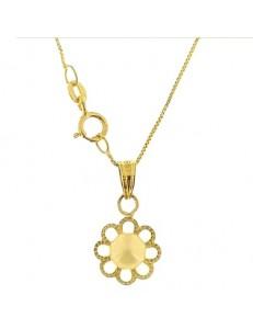 Collana Catenina Pendente Perla Donna Oro Giallo 18 Kt Carati Ct 750 1,25 Gr