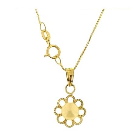 COLLANE ORO GIALLO - Collana Catenina Pendente Perla Donna Oro Giallo 18 Kt Carati Ct 750 1,25 Gr