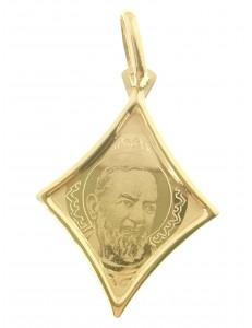CROCI E SACRI ORO GIALLO - Ciondolo Pendente Medaglia Padre Pio Oro Giallo 18 Kt Carati Ct 750 1,05 Gr