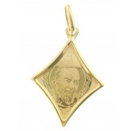 Ciondolo Pendente Medaglia Padre Pio Oro Giallo 18 Kt Carati Ct 750 0,95 Gr