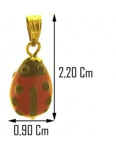 PENDENTE COCCINELLA - ciondolo Bimba Bambino Oro Giallo 18 KT Carati Ct 750