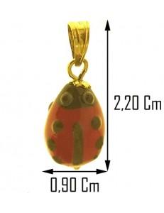 COLLANA COCCINELLA - Bimbo Bambina Oro Giallo 18 Kt Carati Ct 750
