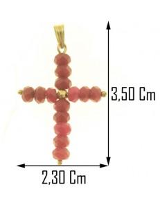 PENDENTE CROCE RUBINI - Uomo Donna Oro Giallo 18 Kt Carati 750