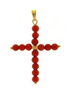 Ciondolo Pendente Croce Corallo Donna Oro Giallo 18 Kt Carati Ct 750 1,40 Gr