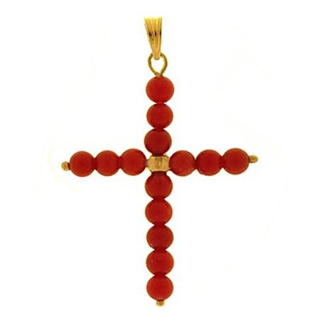 CIONDOLO CROCE CORALLO ROSSO - Donna Oro Giallo 18 Kt Carati Ct 750