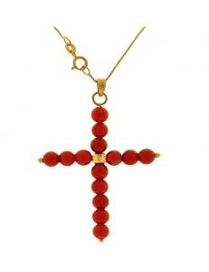 Collana Catenina Croce Corallo Donna Oro Giallo 18 Kt Carati Ct 750 2,10 Gr