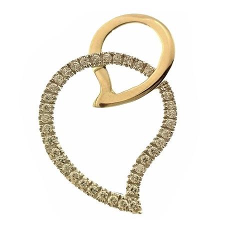 PENDENTI ORO GIALLO - Ciondolo Pendente Donna Oro Giallo Bianco 18 Kt Carati Ct 750 2,60 Gr Cuore