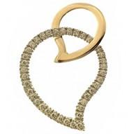 Ciondolo Pendente Donna Oro Giallo Bianco 18 Kt Carati Ct 750 2,60 Gr Cuore