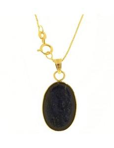 Collana Catenina Pendente Lapis Donna Oro Giallo 18 Kt Carati Ct 750 3,40 Gr