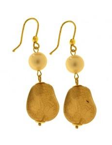 Orecchini Donna Pendenti Perle Oro Giallo 18 kt Carati Ct 750 4,50 Gr