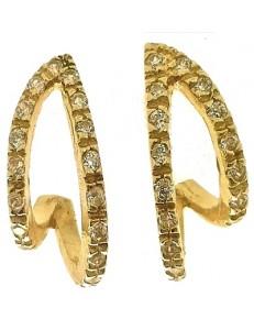 Orecchini Donna Oro Giallo 18 kt Carati Ct 750 4,30 Gr Zirconi Taglio Brillante