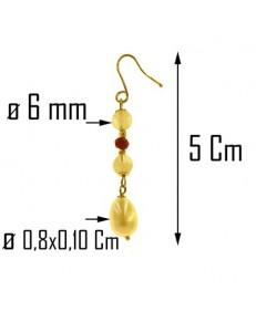 ORECCHINI PENDENTI PERLE RUBINO - Donna Oro  Giallo 18 kt  750 Carati