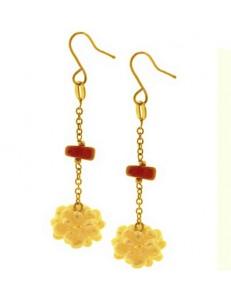 Orecchini Pendenti Perle Corallo Donna Oro Giallo 18 kt Carati Ct 750 5,50 Gr