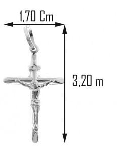 COLLANE UNISEX - Collana Catenina Pendente Croce Donna Oro Bianco 18 Kt Carati CT 750 2,05 Gr