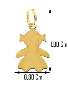 Ciondolo Pendente Bebè Bimba Bambina Oro Giallo 18 Kt Carati Ct 750 0,45 Gr
