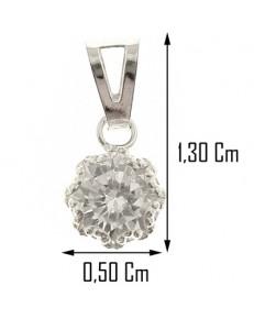 PENDENTI ORO - Ciondolo Pendente Donna Oro Bianco 18 Kt Carati 750 0,35 Gr Punto Luce Solitario