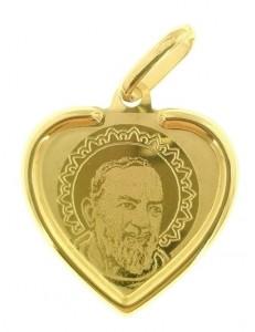 Ciondolo Pendente Uomo Donna Oro Giallo 18 Kt Carati 750 1,05 Gr Padre Pio