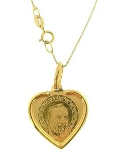 Collana Catenina San Padre Pio Uomo Donna Oro Giallo 18 kt Carati Ct 750 1,75 Gr