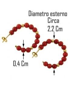 ORECCHINI CERCHIO CORALLO - Donna Oro Giallo 18 Kt Carati Ct 750