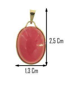 PENDENTE CORNIOLA ROSSA - Donna  Oro Giallo 18 Kt Carati Ct 750