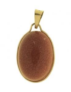 PENDENTE CABOCHON ARENARIA AUREA - Donna  Oro Giallo 18 Kt Carati Ct 750