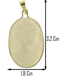 PENDENTE CAMEO BIANCO - Donna Oro Giallo 18 Kt Carati Ct 750
